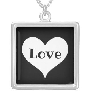 Stylish love heart silver plated necklace
