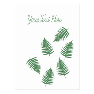 Stylish Lucky Green Fern Vertical Postcard