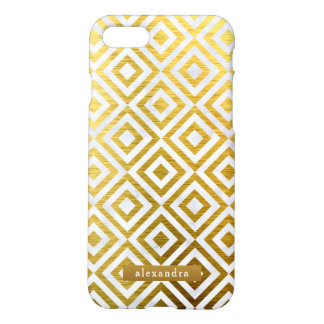 Stylish Marble and Gold Squares Pattern iPhone 8/7 Case