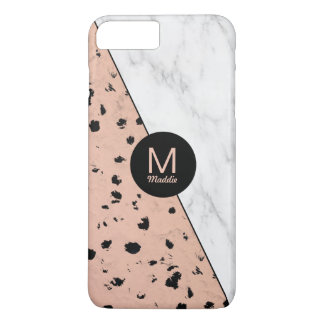 Stylish Marble and Rose Gold Pattern with Monogram iPhone 7 Plus Case