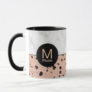 Stylish Marble and Rose Gold with Monogram Mug