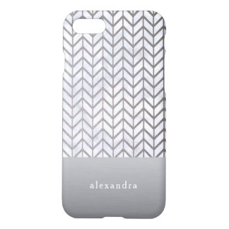 Stylish Marble and Silver Chevron Pattern iPhone 8/7 Case
