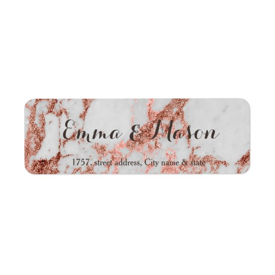 Stylish marble faux rose gold wedding collection return address label