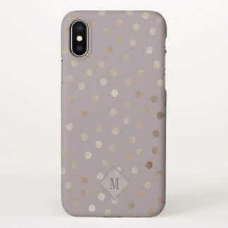 Stylish Mauve and Shimmery Dots with Your Monogram iPhone X Case
