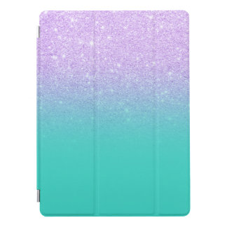 Stylish mermaid lavender glitter turquoise ombre iPad pro cover