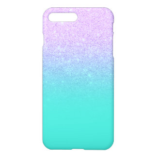 Stylish mermaid lavender glitter turquoise ombre iPhone 7 plus case