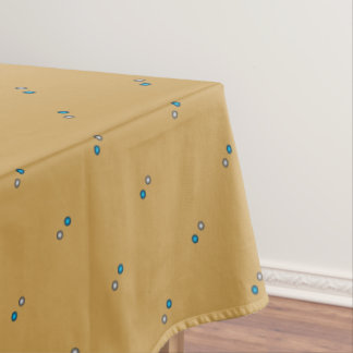 Stylish Metallic Blue and Silver Polka Dot Pattern Tablecloth
