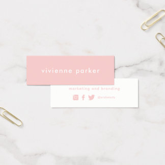 Stylish Millennial Pink | Social Media Networking Mini Business Card