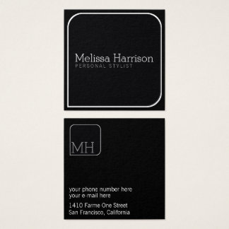 stylish & modern blk square professional stylist square business card