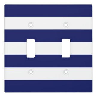 Stylish Modern Blue Stripe Pattern Light Switch Cover