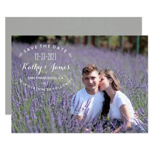 Stylish Modern Calligraphy Photo Save the Date Card