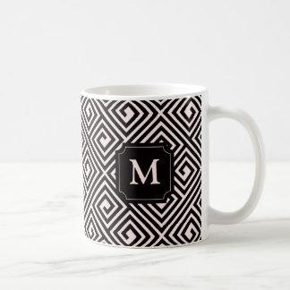 Stylish Modern Chic Greek Key Pattern Monogram Mug