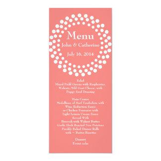 "Stylish Modern Coral Color Wedding Table Menu 4"" X 9.25"" Invitation Card"
