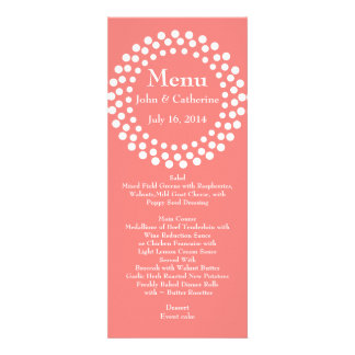 Stylish Modern Coral Color Wedding Table Menu Announcement