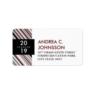 Stylish Modern Diagonal Pin Stripes Graduation Address Label