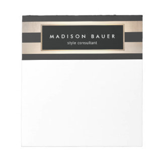 Stylish Modern Elegant Striped Black and Gold Notepad