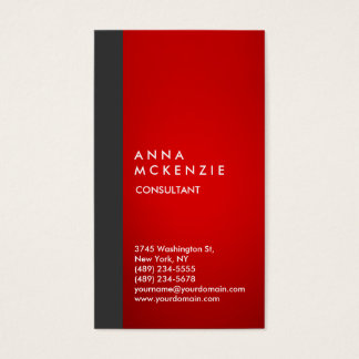 Stylish Modern Elegant Vertical Grey Red Stripe Business Card