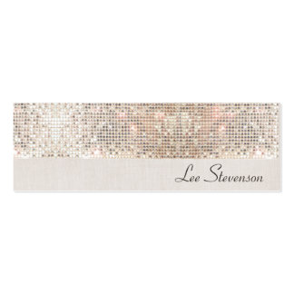 Stylish Modern Fun Trendy Silver Sequins Mini Business Card