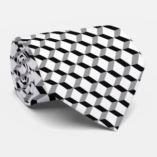 Stylish Modern Geometric Black White Cubes Tie