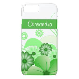 Stylish Modern Green Hibiscus Floral Swirls Slim iPhone 8 Plus/7 Plus Case