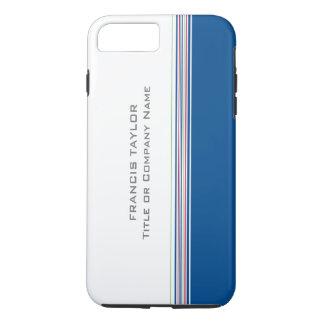 Stylish modern minimal dark blue stripes pattern … iPhone 7 plus case