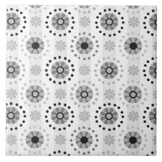 Stylish modern monochrome floral pattern tile