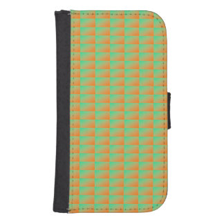 Stylish modern orange and green pattern samsung s4 wallet case