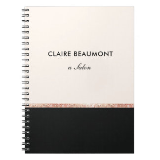 Stylish Modern Rose Gold Sequin Black Notebooks