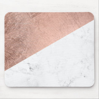 Stylish modern rose gold white marble color block mouse pad