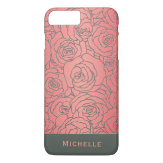Stylish Modern Rose Pattern with Your Name iPhone 8 Plus/7 Plus Case