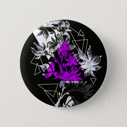 Stylish modern triangle floral illustration 2 inch round button