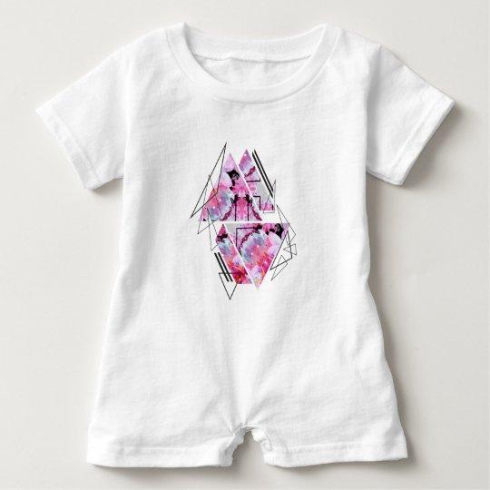 Stylish modern triangle floral illustration baby romper