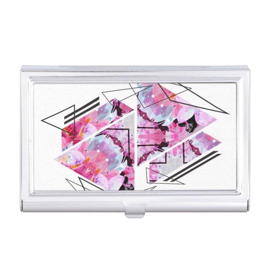 Stylish modern triangle floral illustration business card holder