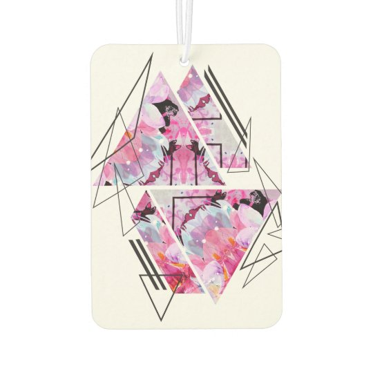 Stylish modern triangle floral illustration car air freshener