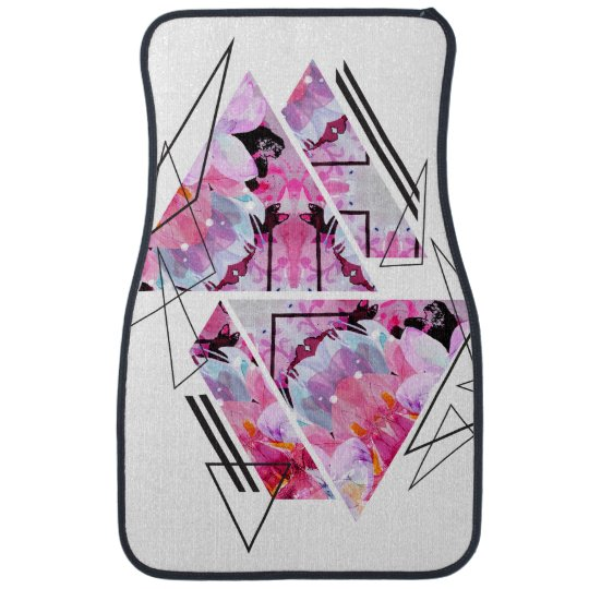 Stylish modern triangle floral illustration car mat