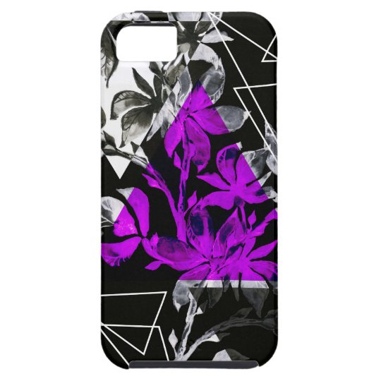 Stylish modern triangle floral illustration iPhone 5 covers