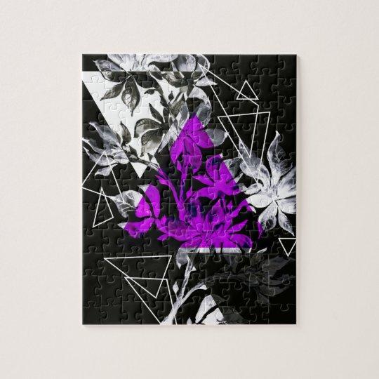 Stylish modern triangle floral illustration jigsaw puzzle