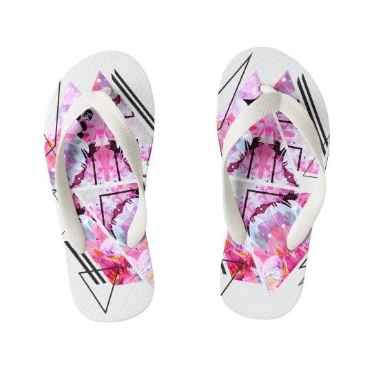 Stylish modern triangle floral illustration kid's flip flops
