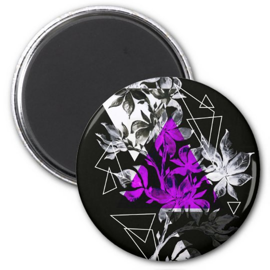 Stylish modern triangle floral illustration magnet
