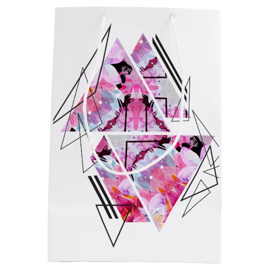 Stylish modern triangle floral illustration medium gift bag