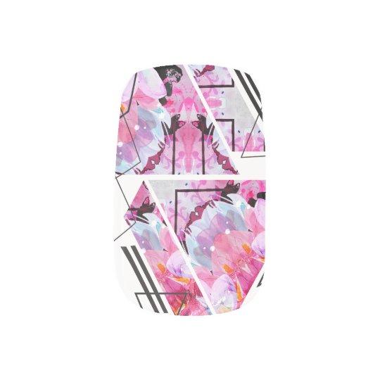 Stylish modern triangle floral illustration minx nail art