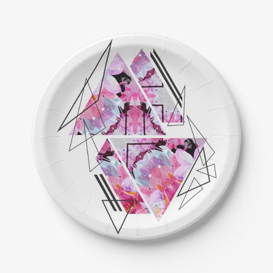 Stylish modern triangle floral illustration paper plate