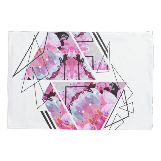 Stylish modern triangle floral illustration pillowcase