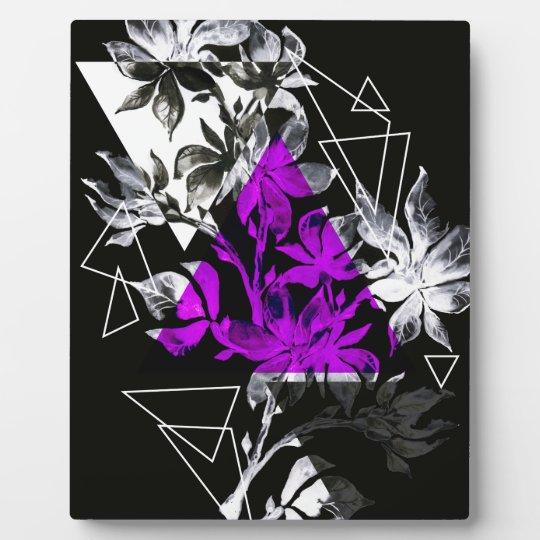 Stylish modern triangle floral illustration plaque