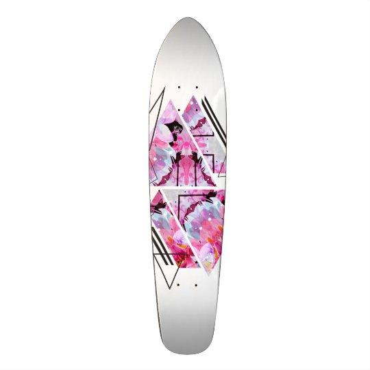 Stylish modern triangle floral illustration skate board deck
