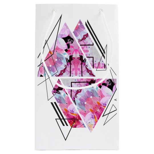 Stylish modern triangle floral illustration small gift bag