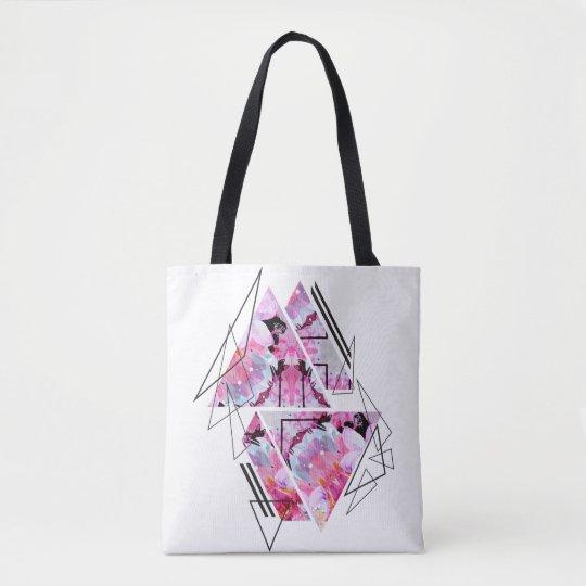 Stylish modern triangle floral illustration tote bag