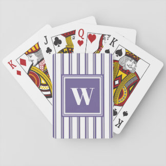 Stylish Modern Violet Monogram Wedding Favor Playing Cards