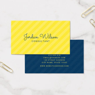 Stylish Modern Yellow and Blue Stripes Business Card