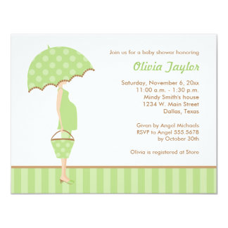 Stylish Mom Baby Shower Invitations in Green